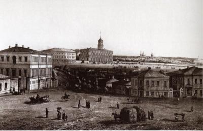 Каланчевская площадь, 1850-е. На дальнем плане Алексеевский монастырь.
