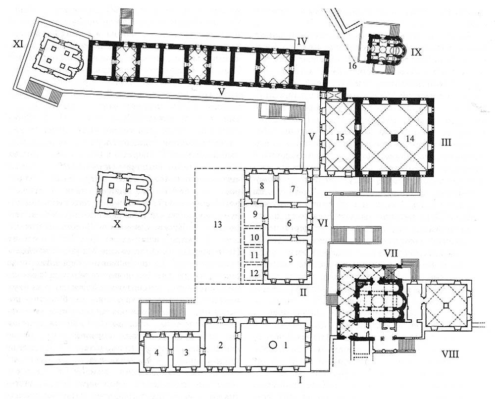 Центральная часть дворца в 16в., уровень 2го этажа.