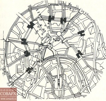 Эль Лисицкий. Проект «горизонтальных небоскребов» на пересечении радиальных улиц с Бульварным кольцом (1923-1925). Проект не реализован.