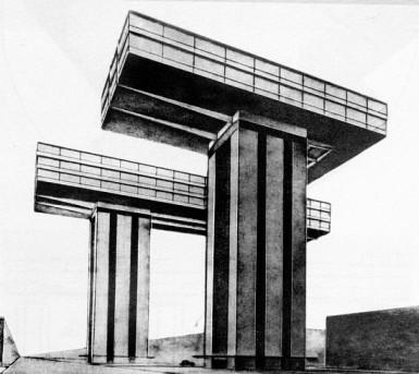 Эль Лисицкий. Горизонтальный небоскреб у Никитских ворот. Фотомонтаж, 1925 год.