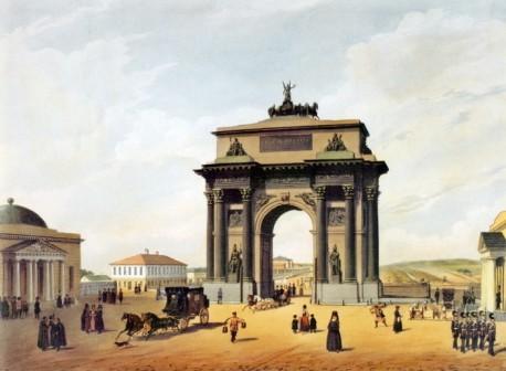 Ф. Бенуа Триумфальная арка на площади Тверской заставы