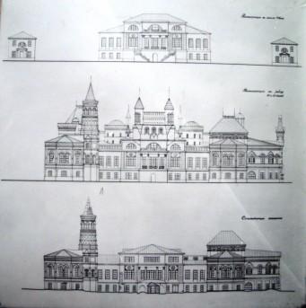 Главный дом в разные периоды строительства