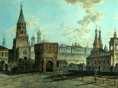 Ф.Алексеев.Троицкая и Кутафья башни. 1800-е гг.
