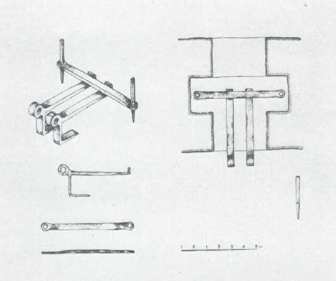 9. Кутафья-башня. Подлинные детали железного шарнира подъемного рычага моста. Рисунок А.В. Воробьева