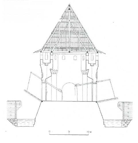 4. Кутафья-башня. Поперечный разрез. Вид с западной стороны. Шатровая кровля по варианту II. Реконструкция