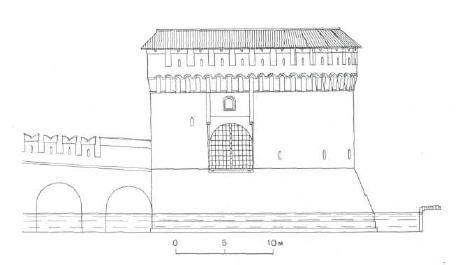 10. Кутафья-башня. Северный фасад. Кровля по варианту I. Реконструкция