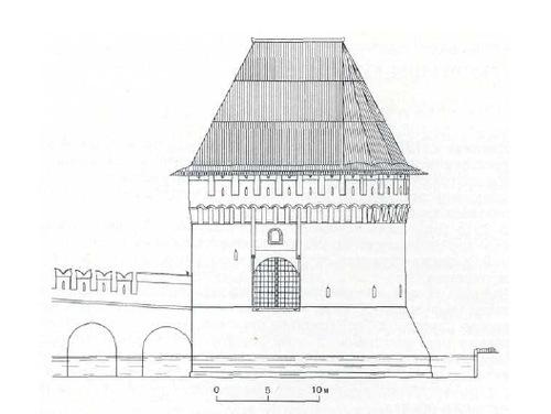 1. Кутафья-башня. Северный фасад. Шатровая кровля по варианту II. Реконструкция