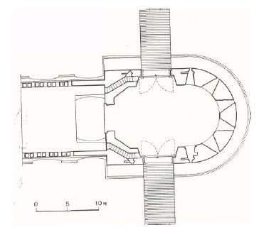 2. Кутафья-башня. Совмещенный план на уровне бойниц и зубцов моста. Реконструкция