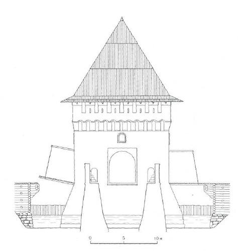5. Кутафья-башня. Восточный фасад. Шатровая кровля по варианту II. Реконструкция