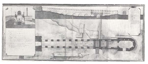 12. План и фасад Троицкого моста XVIII в. ЦГАДА, ф. 248, кн. 3795, л. 406