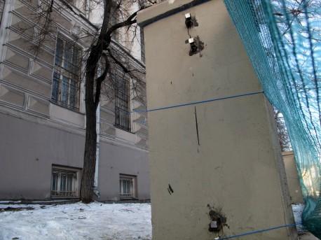 Спиленная ограда Научной библиотеки МГУ на Моховой