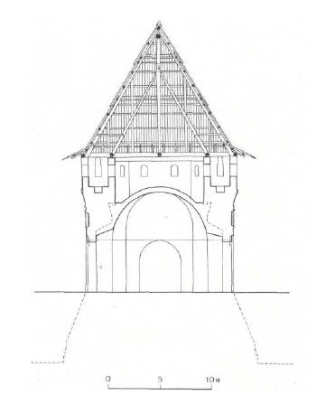 11. Кутафья-башня. Поперечный разрез. Вид с западной стороны после сооружения свода и сужения раструба ворот. Реконструкция