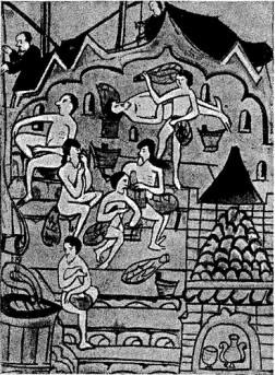 Парильня в каменной бане (миниатюра из рукописной книги XVII веке. ГИМ).