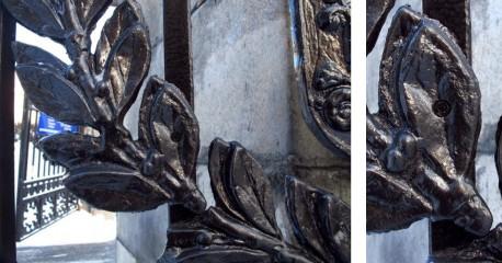 ограда Тюрина, винт. врезанный в литой декор калитки