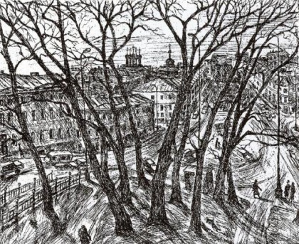 Рождественский бульвар, рисунок Александра Кулемина