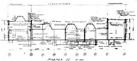 Рис. 5. Проект расширения литейного цеха. Поперечный разрез. 1934 г.