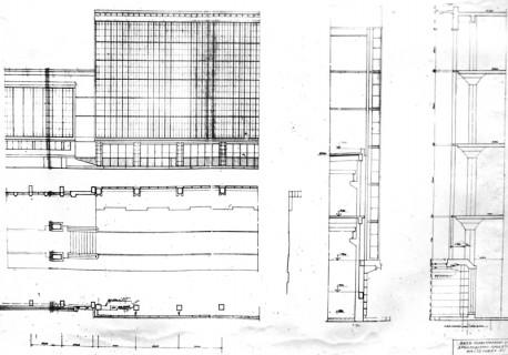 Рис. 7. Проект расширения литейного цеха. Фрагмент фасада, сечения по стенам. 1934 г.