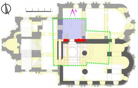 Периодизация Ново-Никольского собора с наложением планов нижнего и верхнего ярусов, схема И.Кондратьева