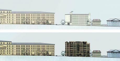 Развертка-сравнение старого и проектируемого зданий