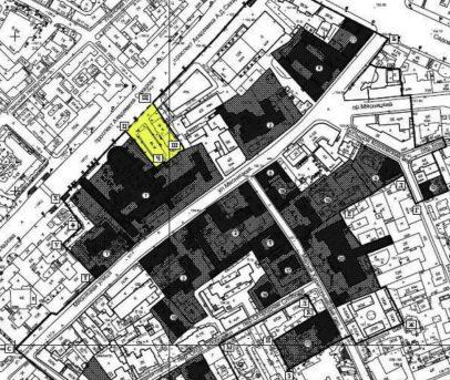 Схема границ охранной зоны здания Центросоюза. Желтым выделен вырезаемый участок.