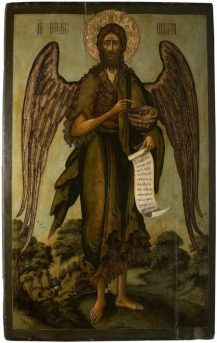 Икона Иоанна Предтечи Ангела пустыни. 1688/1689 гг. Тихон Филатьев. Происходит из церкив Алексия Митрополита в Глинищах. Хранится в ГТГ.