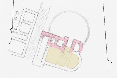 Очертания храма на глубоко предварительной схеме. Здесь показаны уже раскопанные стены северной паперти, еще не раскопанный интерьер подвала (предположительно) и примерный радиус проектируемого фонтана