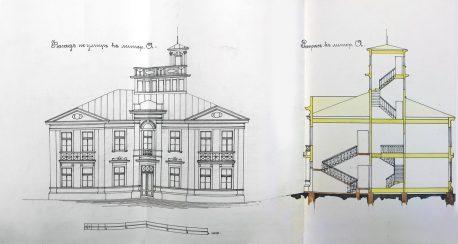 Чертеж двухэтажного жилого дома (ныне д. 18, «Изба на Масловке»)