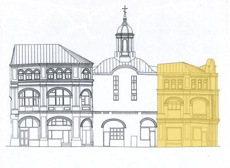 Обмерный чертёж западного фасада храма с пристройками. «Невоцерковлённый» южный объём – справа
