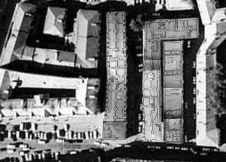 План подвалов XVII-XIX вв., сохраняющихся на территории стройплощадки «Интеко». По обмерам 1980-х.