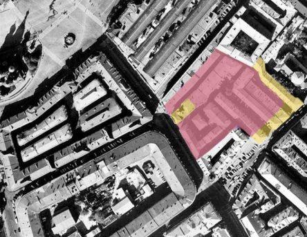 Тёплые ряды и Богоявленские линии в Китай-городе 1970-х. Розовым показаны корпуса, снесённые при Лужкове, желтым – сохранившиеся до сих пор