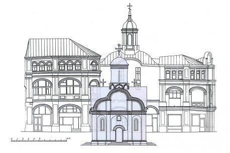 Наложение фасада 1519 года на чертёж современной постройки. Схема автора, 2020 год