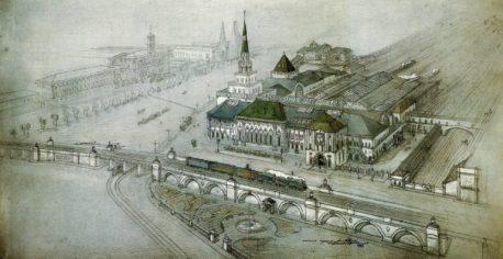 А.В. Щусев. Проектная перспектива путепровода и Казанского вокзала