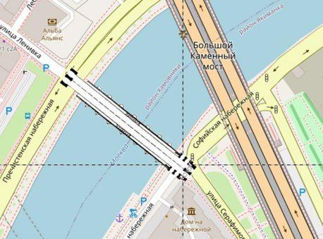 Наложение плана Большого Каменного моста XVII века на современную карту. Схема автора