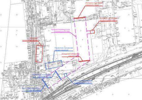 Схема с маршрутами передвижки трех зданий завода Борец