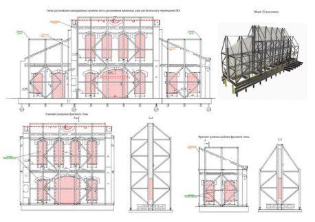 Схема укрепления и разделения фасадов и зданий на секции для передвижки
