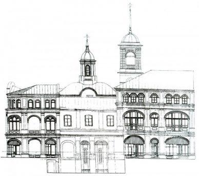 Предложение по действительному раскрытию и включению в городское пространство архитектуры древнего храма, воссоздание гранёных апсид по сохранившимся фрагментам 1519 г. в арках восточного фасада. Эскизный проект мастерской Конев и партнёры, 1999