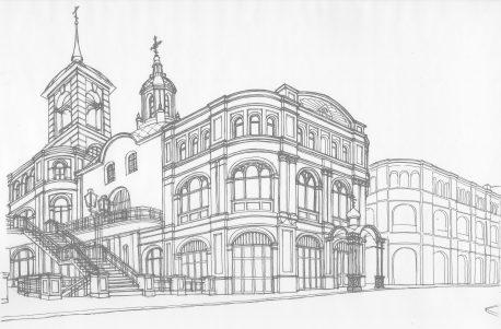 Один из альтернативных вариантов реставрации комплекса с экспонированием восстановленного западного фасада нижнего храма в приямке и устройством некапитальной открытой паперти, арх. С.В. Конев, 2000 г.
