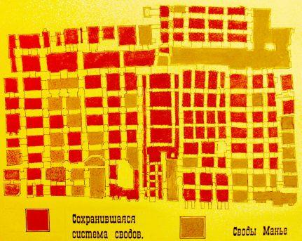 Подвалы Шевалдышевского подворья, схема А. Воронова