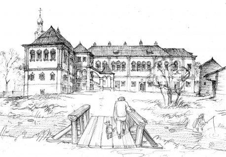 Палаты дьяка Украинцева в Хохловском переулке. Вид со двора. Реконструкция Александра Можаева.