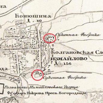 Фрагмент карты 1848 года. Источник: retromap.ru. Красным пометки автора